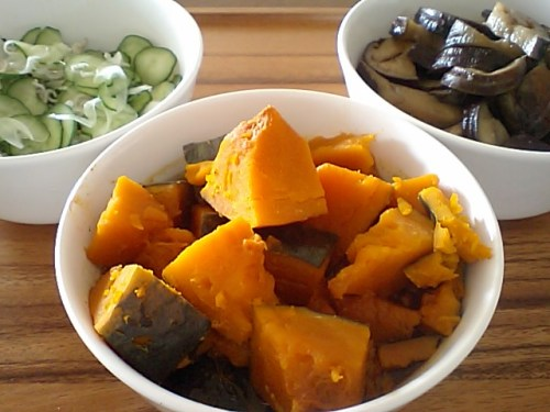 vinegared cucumber, simmered eggplants and simmered pumpkins