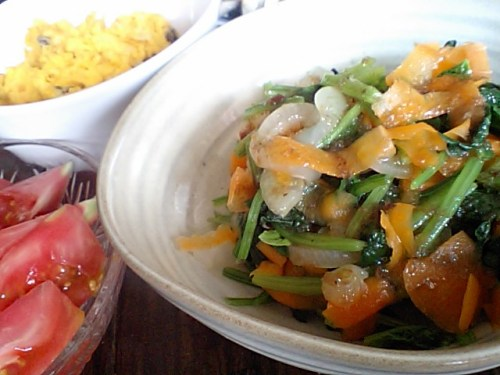 supinach salad, pumpkin salad and tomato